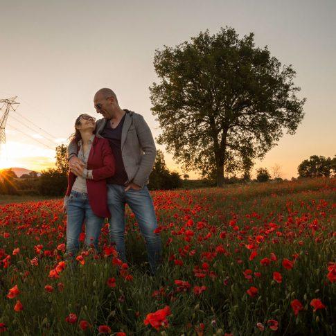 amore, tramonto, massimo, monia, relax, papaveri, rosso, natura, engagement